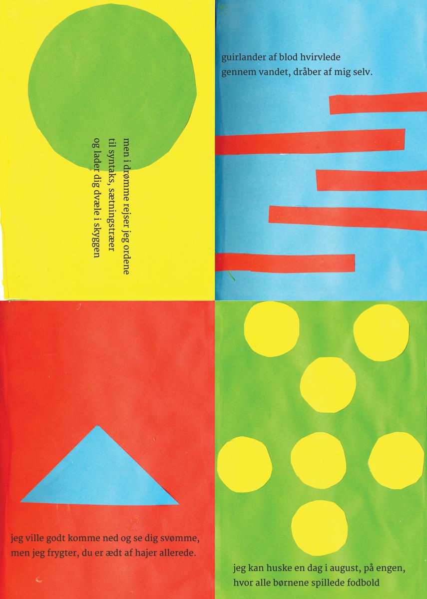 Farve, cirkel, trekant, streg: Læs min collagebog på dansk